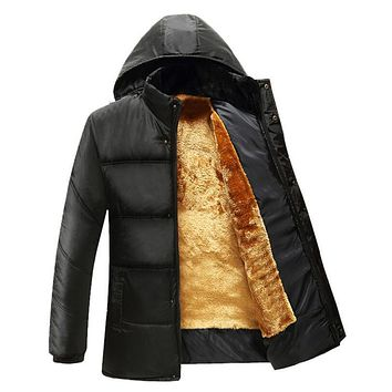 Men's fluffy Thick Outwear Coats Wool Liner Hooded Down Jackets Parkas New Male Hat Detachable Warm Down Jackets