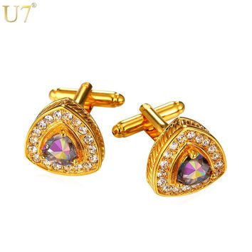 U7 New Crystal Heart Cufflinks For Men Jewelry Trendy Suit Accessories Gold Color Cubic Zirconia Cuff Link & Free Gift Box C006