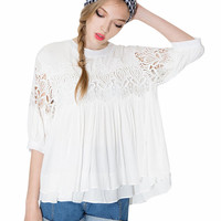Crochet Cutout Half Sleeve Ruffled Top