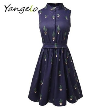 Summer Dress 2018 Women Dress flamingo dress  Unicorn Cactus Prints Casual High Waist Cute A Line Mini Dresses