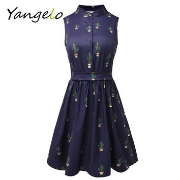 2018 Women flamingo Unicorn Cactus Prints Casual High Waist Cute A Line Mini Dress
