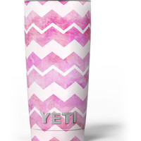 Pink Water Color with White Chevron Yeti Rambler Skin Kit