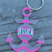 Chevron Anchor Key Chain with Name