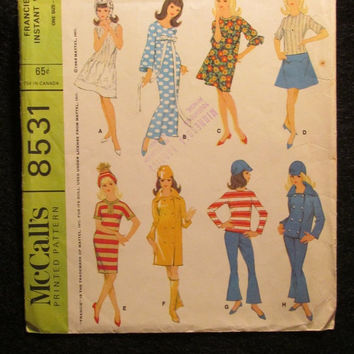 "Sale Uncut 1960's McCall's Sewing Pattern, 8531! Fancie Doll's Instant Wardrobe/11"" Dolls/Doll Clothes/Retro Dresses/Bell Bottoms/Jackets/To"
