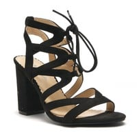 HerStyle Sallory open toe, wrapped chunky heel, a gladiator inspired strappy cagey vamp with front lace-up (Black)