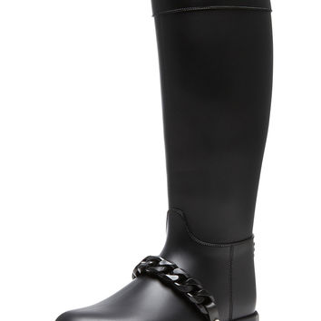 GIVENCHY Eva Rain PVC Boots with Chain Detail in Black in Black | FWRD
