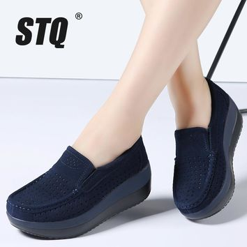 STQ 2017 spring women flat platform loafers shoes ladies suede leather hollow casual s