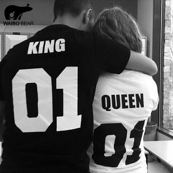 Hot 2016 King Queen T Shirt Print T-Shirts Couple Lovers Clothes Fashion Punk T Shirt Harajuku Shirt Couple T-Shirt WAIBO BEAR