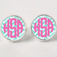 Monogram Stud Earrings  403  Chevron  Aqua & by neworleansbeanieco