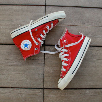 Red Vintage Converse All Star Sneakers Made in the USA Chucks  Fourth 4th of July 80s