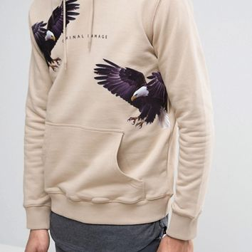 Criminal Damage Hoodie In Stone With Eagle Print at asos.com