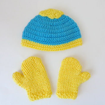 Eric Cartman Hat And Mittens Or Gloves From South Park- Choose Your Favorite Character - Newborn to Adult Halloween / Cosplay/ Baby Shower