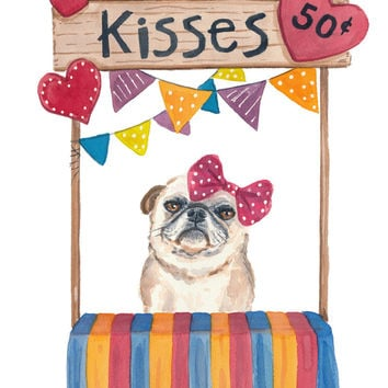Pug Watercolor - 5x7 PRINT, Kissing Booth, Cute Dog, Nursery Art, Dog Watercolor Illustration