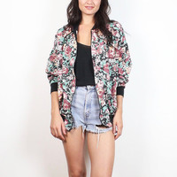 Vintage 90s Bomber Jacket Floral Print Cotton Blend Windbreaker Style Slouchy Track Jacket 1990s Soft Grunge Sporty Coat M L Extra Large XL