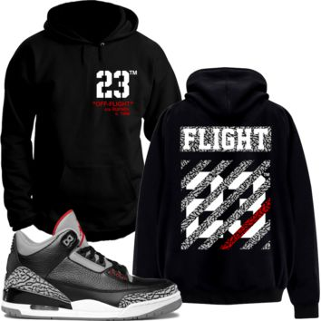 Jordan 3 Black Cement Sneaker Hoodie to Match - OFF FLIGHT