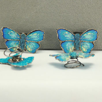 Hand Painted Blue Butterfly Hair Spinner Ornament