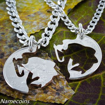Fishing Jewelry, Couples necklaces, Hook and Fish, hand cut coin by Namecoins