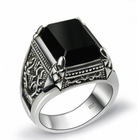 Black Obsidian Ring 925 Sterling Silver For Men