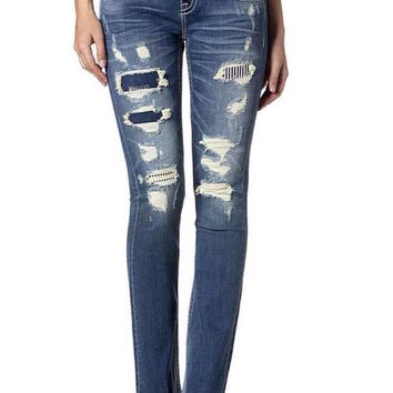 Miss Me Distressed Striped Back-Panel Bootcut Denim