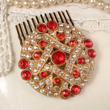 Antique 1920s Ruby Red & Clear Rhinestone Gold Bridal Hair Combs, Small Round Art Deco Fur Clip to Wedding Hair Accessory Gatsby Flapper