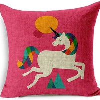 Pretty in Pink Unicorn Throw Pillow