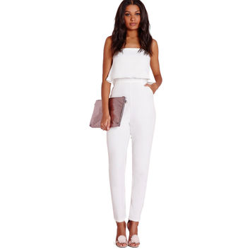 All White Strapless Jumpsuit