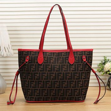 FENDI Newest Fashionable Women Shopping Leather Handbag Shoulder Bag Red