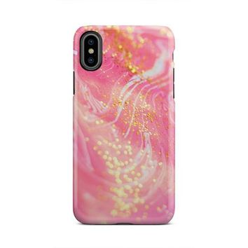 Pink And White Creme Swirl Gold Flakes iPhone X