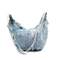 80s ACID WASH Jean Purse Stone Wash Denim Bag Slouchy Cotton Hipster Shoulder Sling Crescent Shape Hobo Grunge Bag Basic Jean Bag