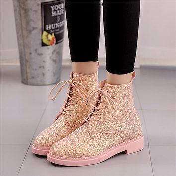 Pink Glitter Lace Up Short Boots