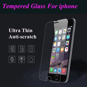 Ultra thin Tempered Glass Screen Protector Film Case OR Flexible Clear TPU For Iphone 4S 5 5S 5SE 6 6S Plus 6Plus 6sPlus 4 Cover