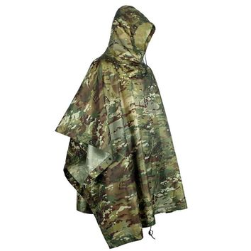 Multi-Use Rain Poncho Camouflage Hunting Ripstop Light Weight Raincoat Portable Poncho PU Waterproof Hooded Raincoat for Camping