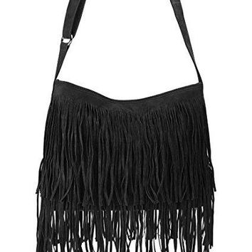 Hoxis Tassel Faux Suede Leather Hobo Cross Body Shoulder Bag Womens Sling Bag