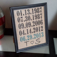 Framed Burlap Print - Custom Important Date Frame - Wedding - Anniversary - Customizable - Dates - Family - 8x10