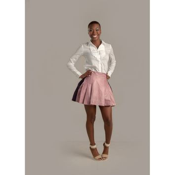 Pink Panther Leather Mixed Pleated Skirt