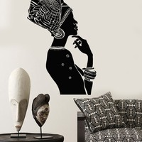 Vinyl Wall Decal African Beauty Woman Ethnic Style Afro Stickers Mural Unique Gift (ig3851)