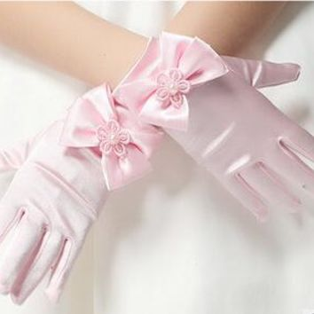 High Quality Elastic girls gloves Girls Satin With Bow Pearl Short Gloves Children Flower Girl gloves Kids gift