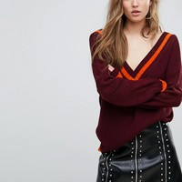 Missguided V Neck Cricket Sweater at asos.com