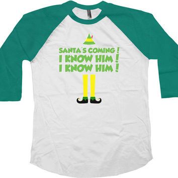Funny Christmas Raglan Buddy The Elf Christmas Raglan American Apparel Raglan Xmas Gifts Christmas Presents Gifts For Xmas Raglan Tee -SA411