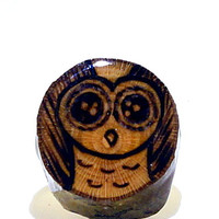 Owl Ring, Wood Slice Ring, Wood Burned Ring, Forest Animal Ring, Wooden Jewelry, Wood Ring, Wooden Ring, Cute Owl Ring, Natural Wood Jewelry