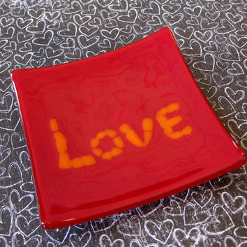 Love Jewelry Plate, Red Soap Dish, Candle Holder, Home Decor Plate - Love Letters - 290 -3