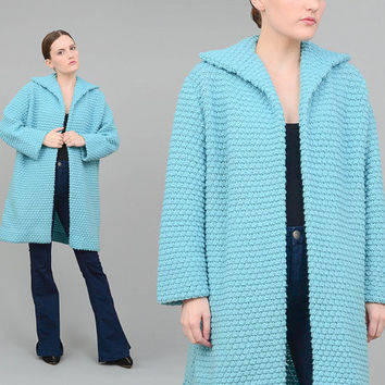 60s Blue Cardigan Nubby Hand Knit Sweater Long Duster Jacket 1960s Sky Blue Jacket Sweater Coat Small Medium S M