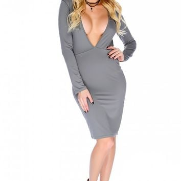 Sexy Grey Plunging V-cut Long Sleeve Open Back Body Con Party Dress