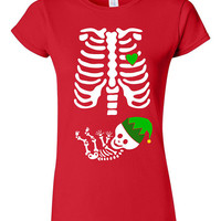 Skeleton Baby Elf Hat Christmas T-shirt Tshirt Tee Shirt Gift Mother Pregnant Pregnancy Mom Infant Shower Funny Xmas Bells Elves Xray Babies