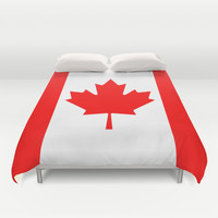 The National Flag of Canada, Authentic color and 3:5 scale version Duvet Cover by Bruce Stanfield