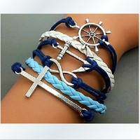 Multi-element retro romantic password wax rope bracelet multilayer anchor LOVE