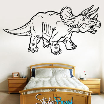 Vinyl Wall Decal Sticker Dino Dinosaur Triceratops #KRiley115