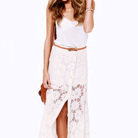 White Floral Lace Embroidered Button Down Maxi Skirt