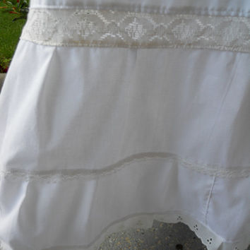 All White A-line Petticoat Inlaid Lace Skirt with Eyelet Trim hippie skirt, prairie skirt, boho, maxi skirt underskirt, crinoline plus size