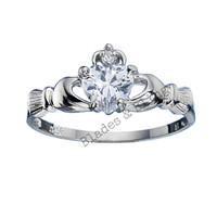 Sterling Silver Clear White Simulated Diamond CZ Claddagh Ring Size 4-12